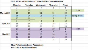 PARCC Calendar